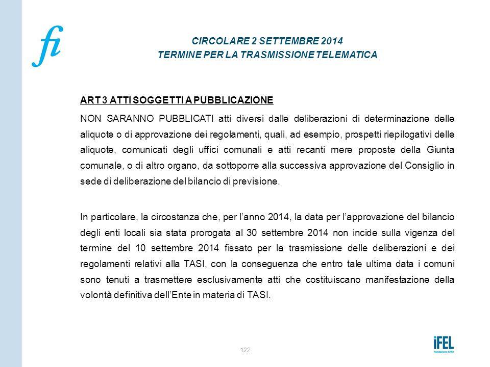CIRCOLARE 2 SETTEMBRE 2014 TERMINE PER LA TRASMISSIONE TELEMATICA