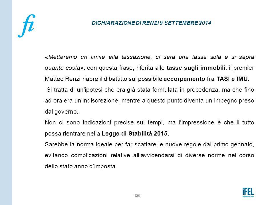 DICHIARAZIONE DI RENZI 9 SETTEMBRE 2014