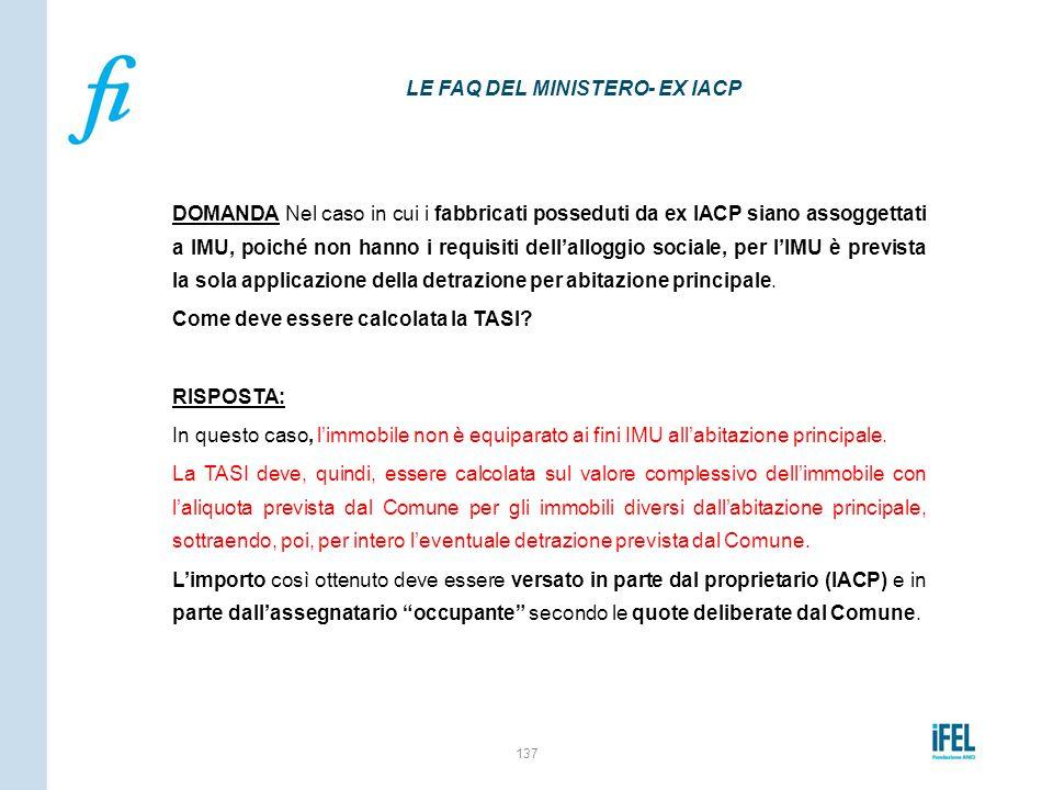 LE FAQ DEL MINISTERO- EX IACP