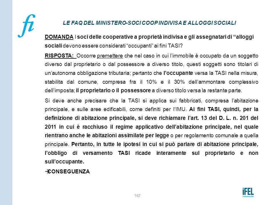 LE FAQ DEL MINISTERO-SOCI COOP INDIVISA E ALLOGGI SOCIALI