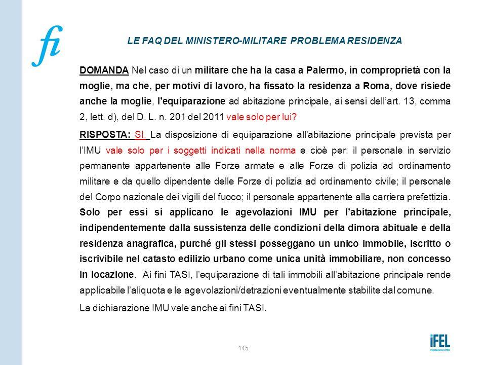 LE FAQ DEL MINISTERO-MILITARE PROBLEMA RESIDENZA