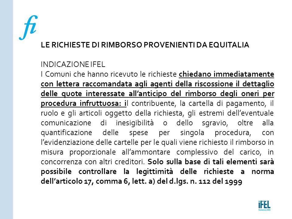 LE RICHIESTE DI RIMBORSO PROVENIENTI DA EQUITALIA INDICAZIONE IFEL