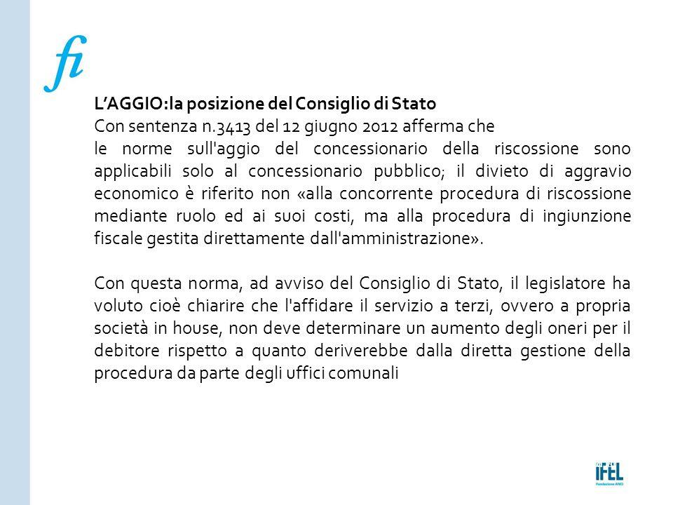 L'AGGIO:la posizione del Consiglio di Stato
