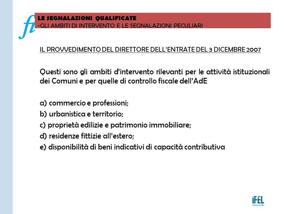 a) commercio e professioni; b) urbanistica e territorio;