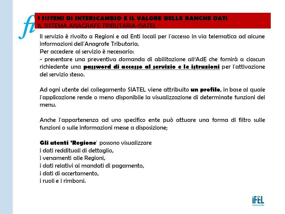 I SISTEMI DI INTERSCAMBIO E IL VALORE DELLE BANCHE DATI