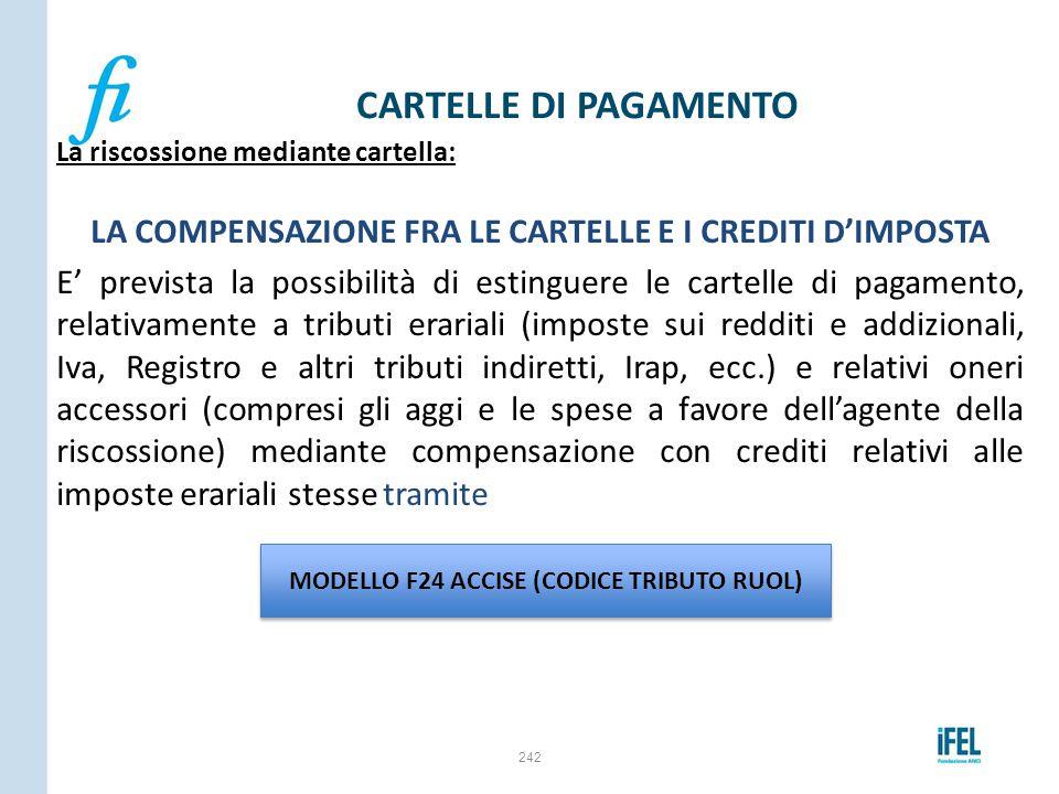 LA COMPENSAZIONE FRA LE CARTELLE E I CREDITI D'IMPOSTA