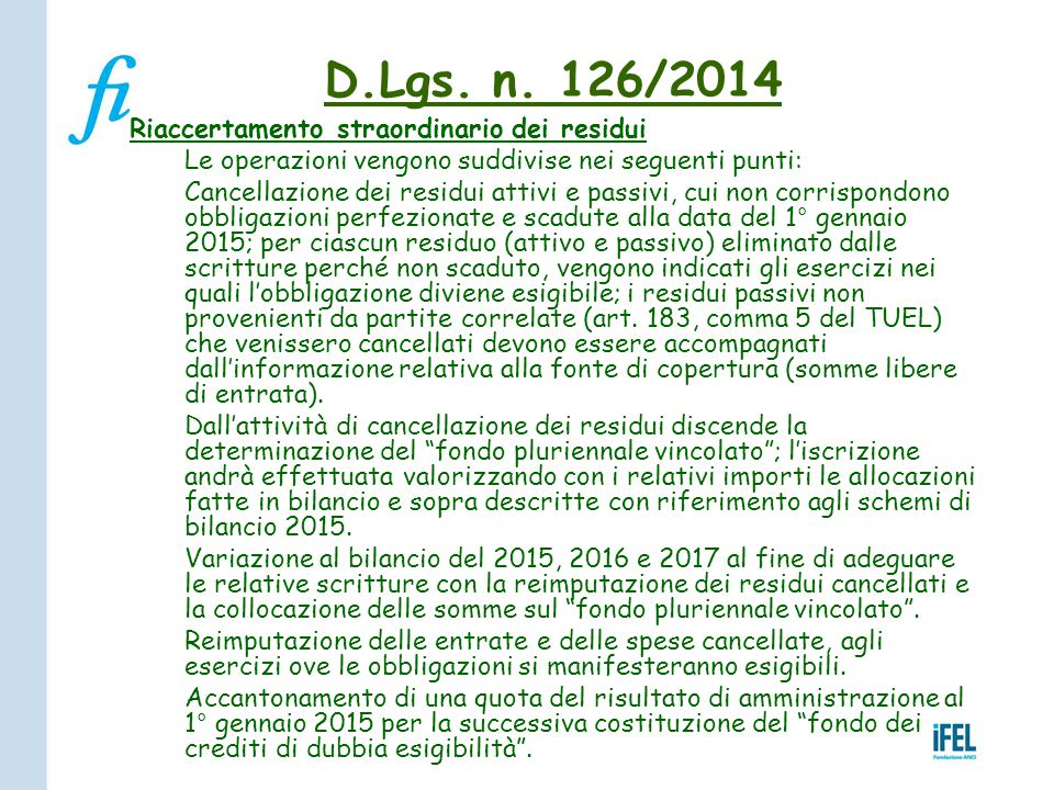 D.Lgs. n. 126/2014 Riaccertamento straordinario dei residui