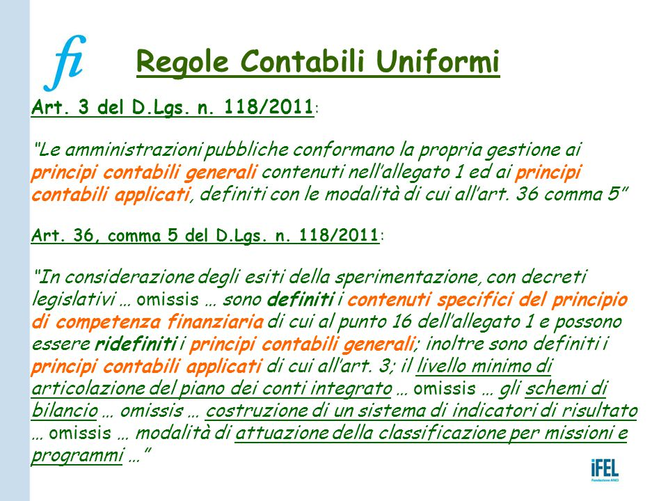 Regole Contabili Uniformi