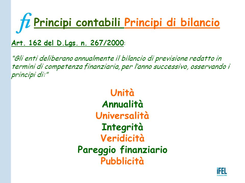 Principi contabili Principi di bilancio