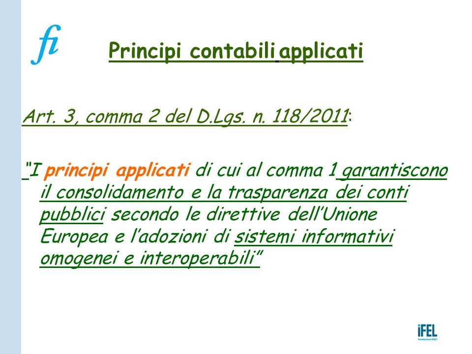 Principi contabili applicati