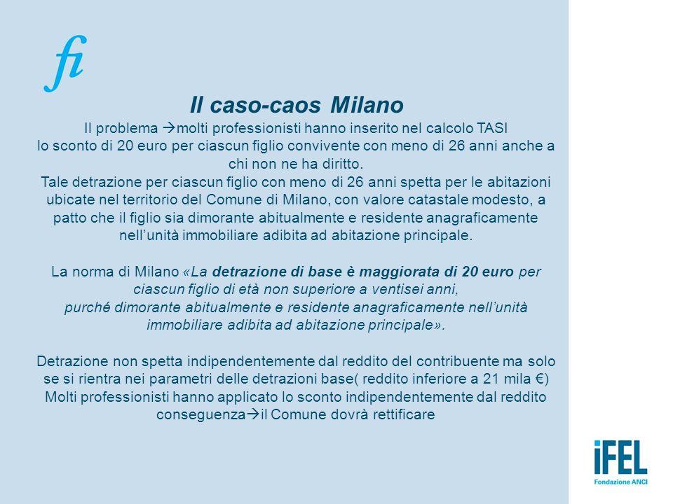 Il caso-caos Milano Il problema molti professionisti hanno inserito nel calcolo TASI lo sconto di 20 euro per ciascun figlio convivente con meno di 26 anni anche a chi non ne ha diritto.