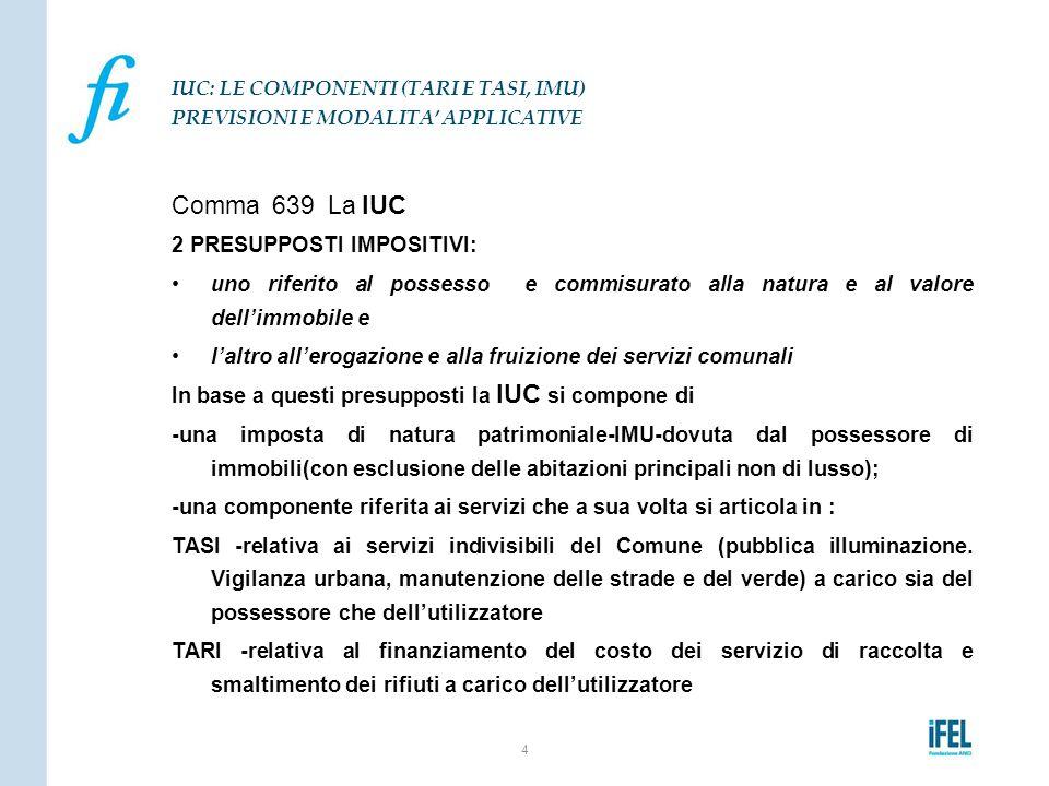 Comma 639 La IUC 2 PRESUPPOSTI IMPOSITIVI: