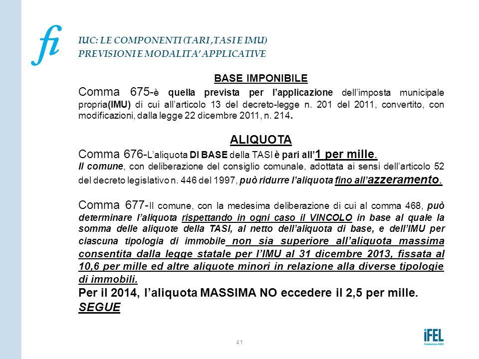 Comma 676-L'aliquota DI BASE della TASI è pari all'1 per mille.