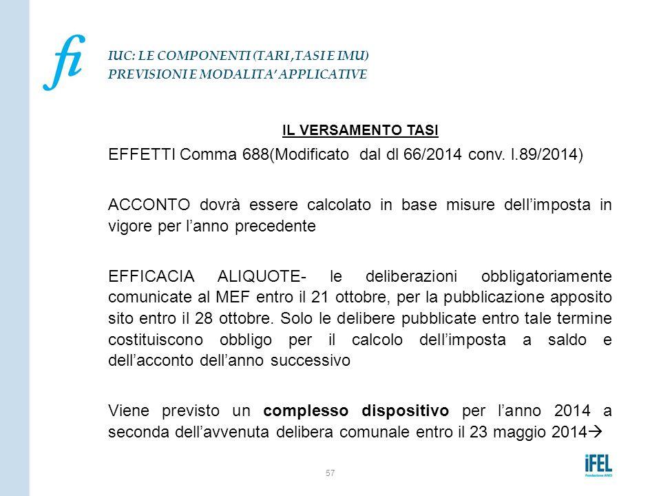 EFFETTI Comma 688(Modificato dal dl 66/2014 conv. l.89/2014)