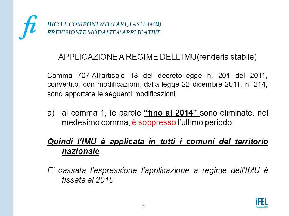 APPLICAZIONE A REGIME DELL'IMU(renderla stabile)