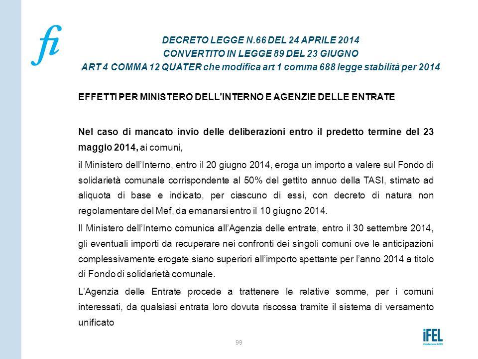 DECRETO LEGGE N.66 DEL 24 APRILE 2014 CONVERTITO IN LEGGE 89 DEL 23 GIUGNO ART 4 COMMA 12 QUATER che modifica art 1 comma 688 legge stabilità per 2014