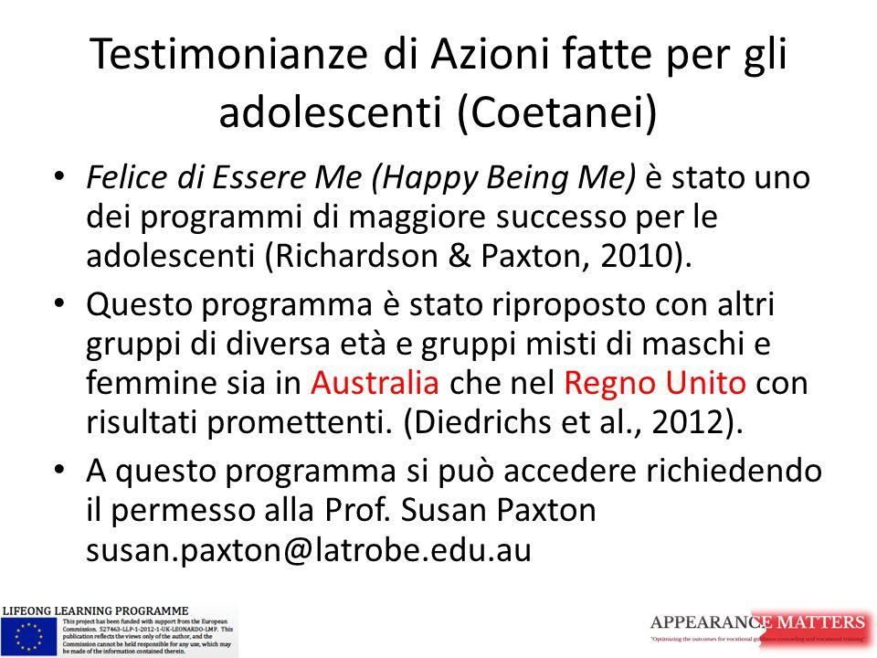 Testimonianze di Azioni fatte per gli adolescenti (Coetanei)