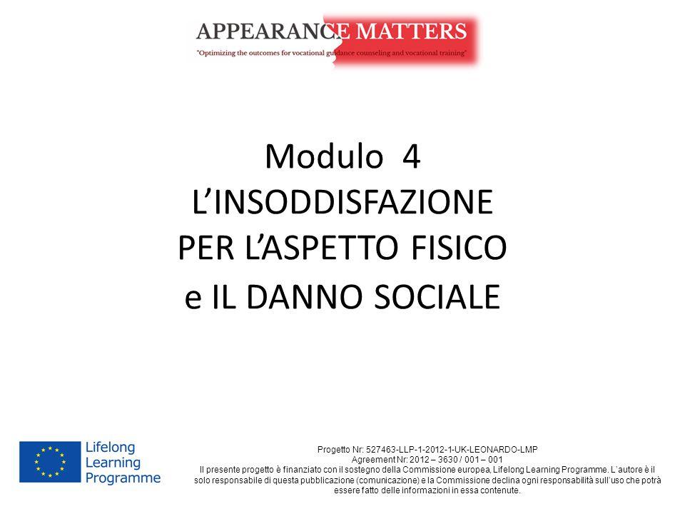 Modulo 4 L'INSODDISFAZIONE PER L'ASPETTO FISICO e IL DANNO SOCIALE