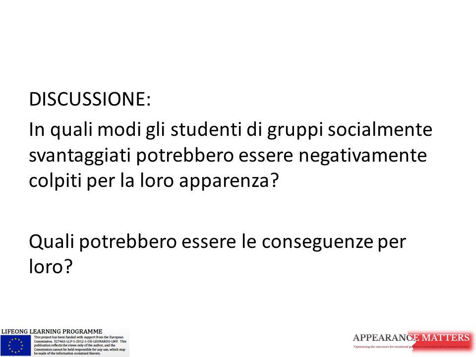 DISCUSSIONE: In quali modi gli studenti di gruppi socialmente svantaggiati potrebbero essere negativamente colpiti per la loro apparenza