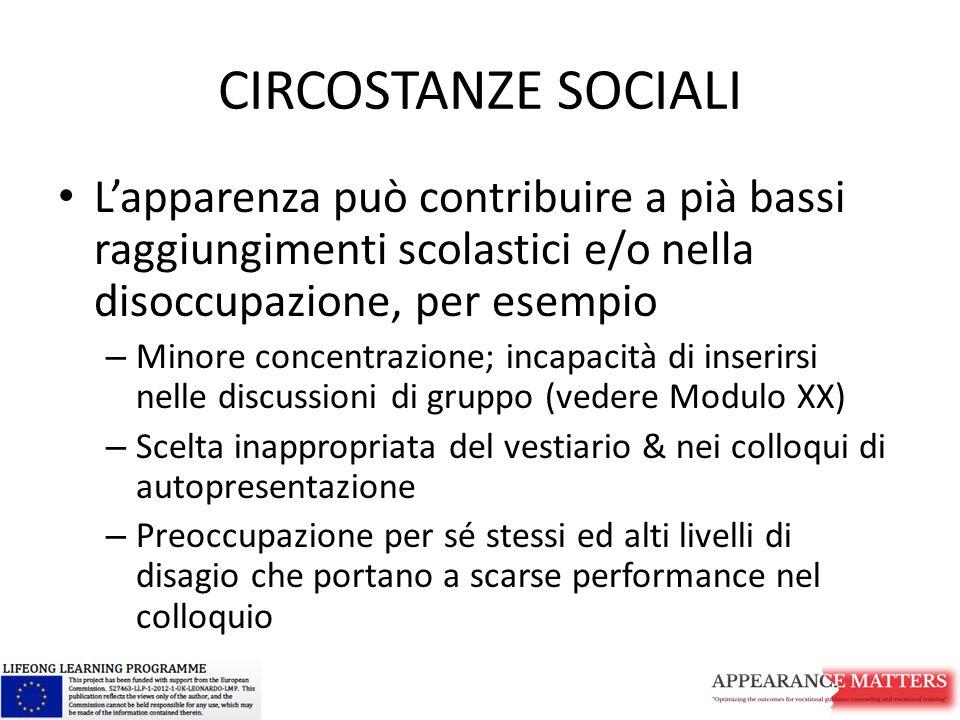 CIRCOSTANZE SOCIALI L'apparenza può contribuire a pià bassi raggiungimenti scolastici e/o nella disoccupazione, per esempio.
