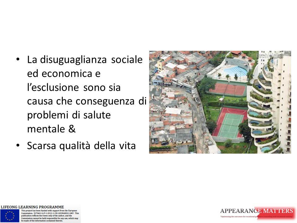 La disuguaglianza sociale ed economica e l'esclusione sono sia causa che conseguenza di problemi di salute mentale &