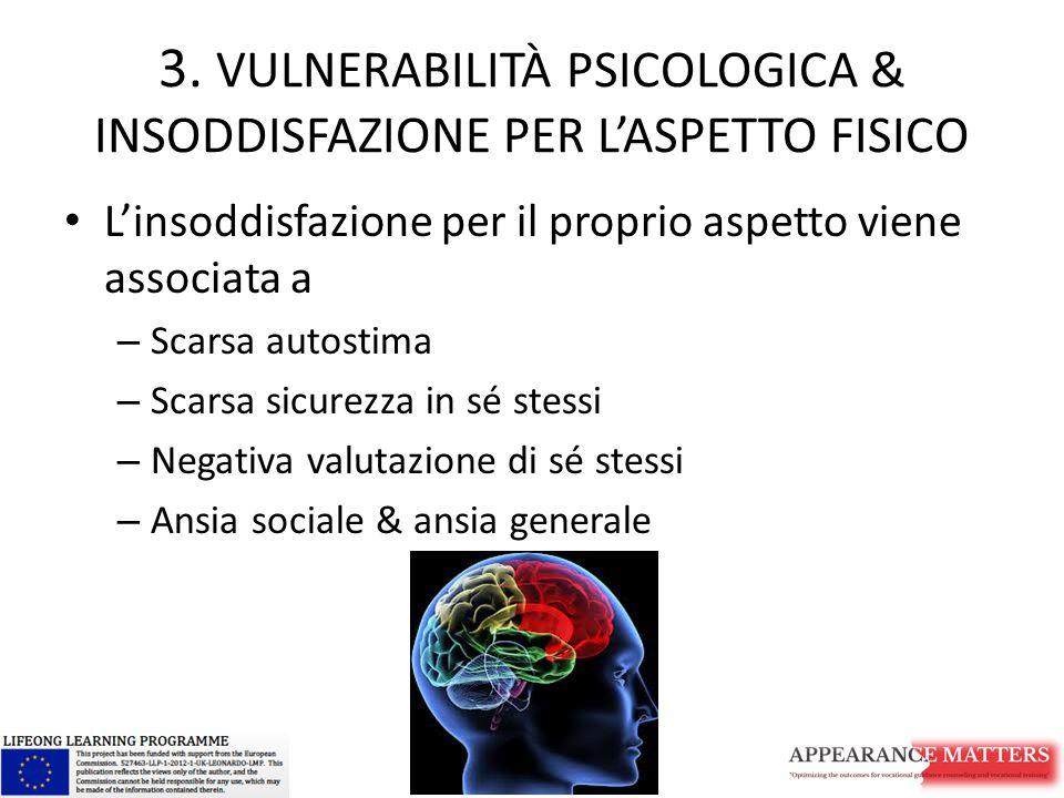 3. VULNERABILITÀ PSICOLOGICA & INSODDISFAZIONE PER L'ASPETTO FISICO