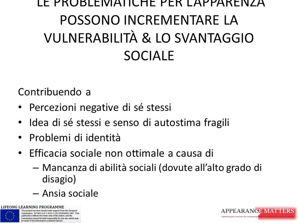 LE PROBLEMATICHE PER L'APPARENZA POSSONO INCREMENTARE LA VULNERABILITÀ & LO SVANTAGGIO SOCIALE