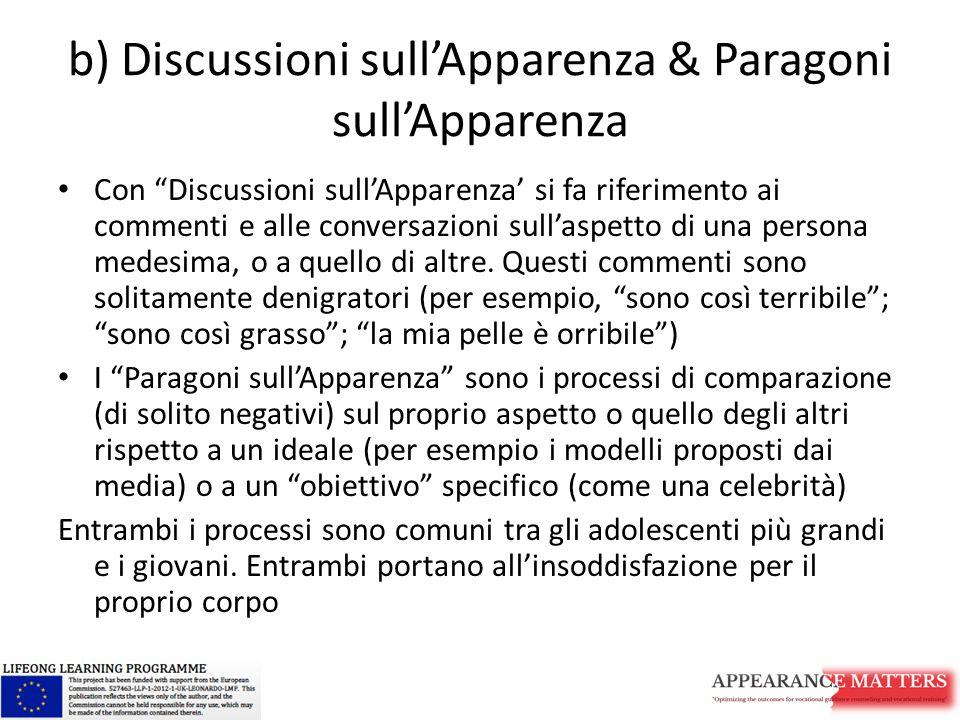 b) Discussioni sull'Apparenza & Paragoni sull'Apparenza