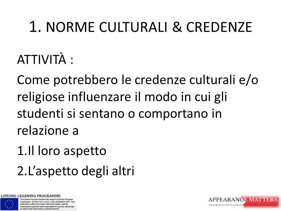 1. NORME CULTURALI & CREDENZE