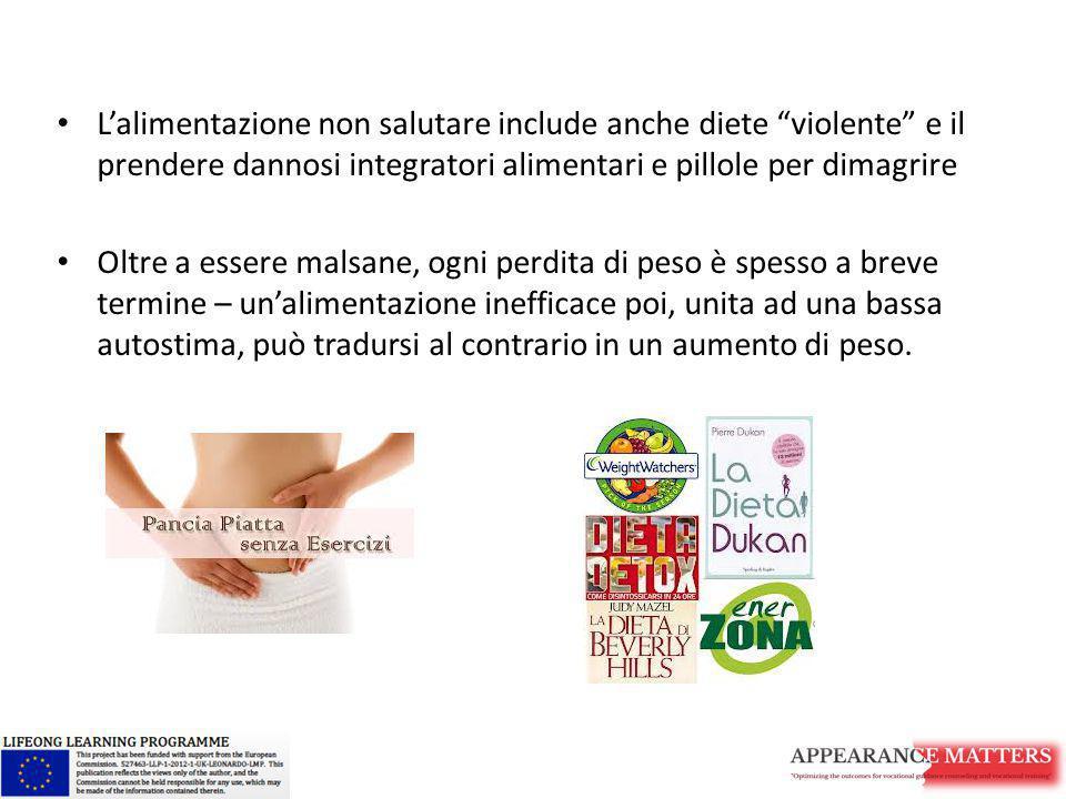 L'alimentazione non salutare include anche diete violente e il prendere dannosi integratori alimentari e pillole per dimagrire