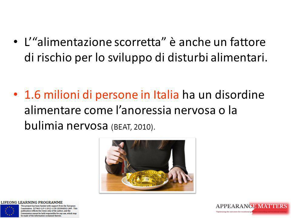 L' alimentazione scorretta è anche un fattore di rischio per lo sviluppo di disturbi alimentari.