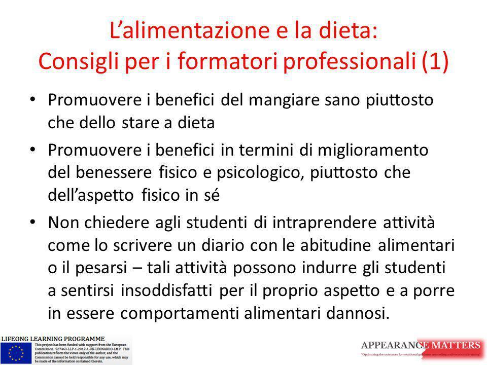L'alimentazione e la dieta: Consigli per i formatori professionali (1)