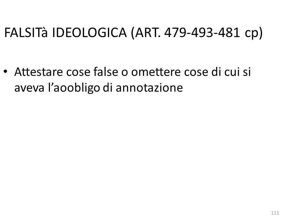 FALSITà IDEOLOGICA (ART. 479-493-481 cp)