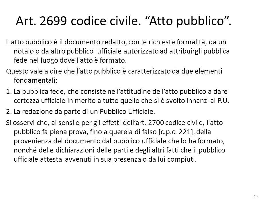 Art. 2699 codice civile. Atto pubblico .