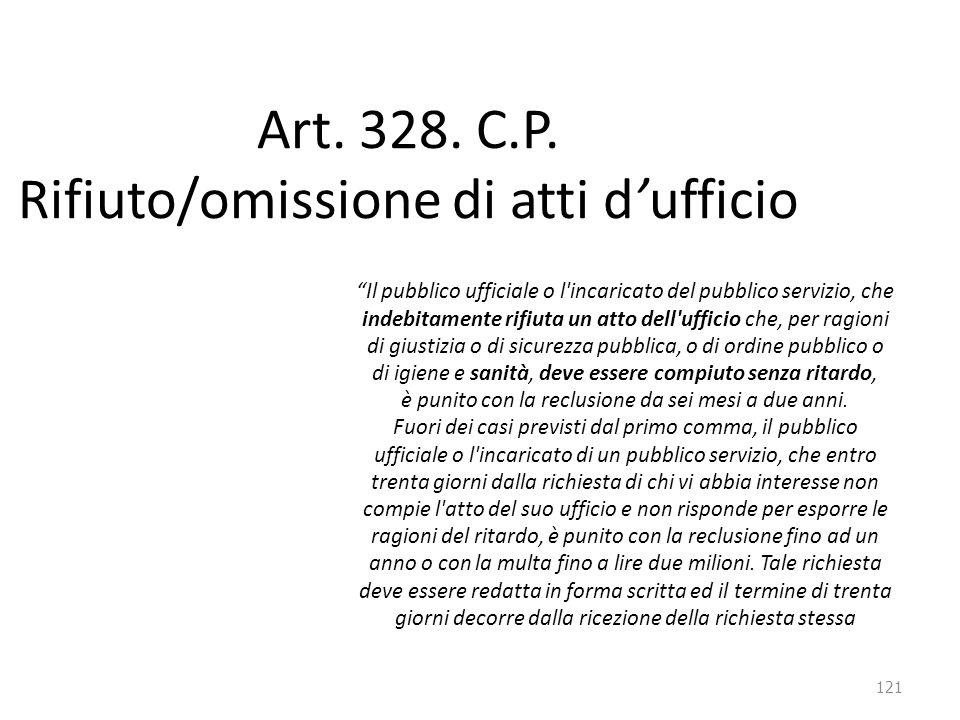 Art. 328. C.P. Rifiuto/omissione di atti d'ufficio