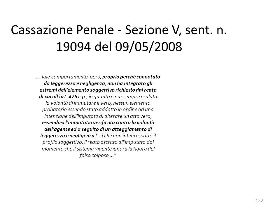 Cassazione Penale - Sezione V, sent. n. 19094 del 09/05/2008