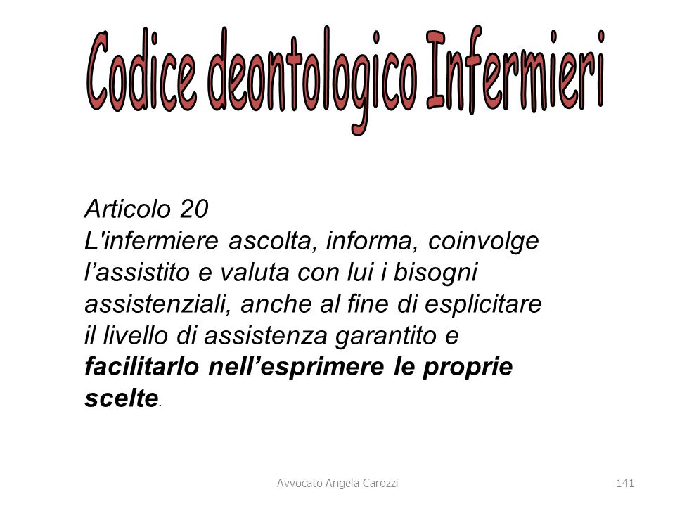 Codice deontologico Infermieri