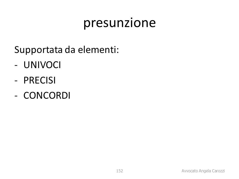 presunzione Supportata da elementi: UNIVOCI PRECISI CONCORDI 152 152