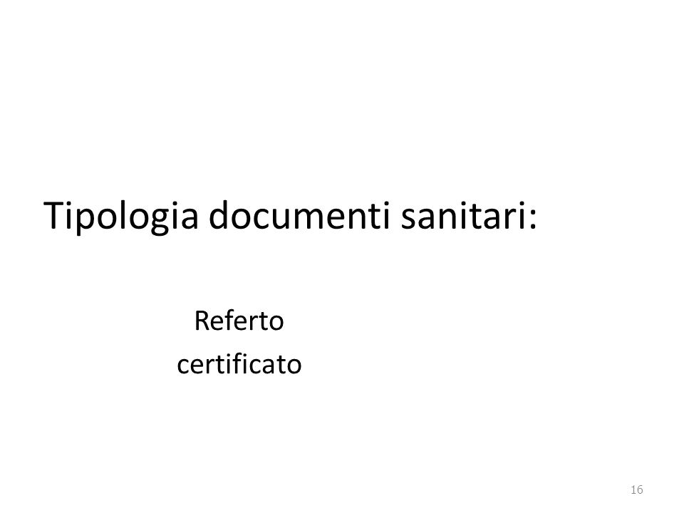 Tipologia documenti sanitari: