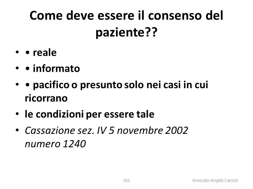 Come deve essere il consenso del paziente