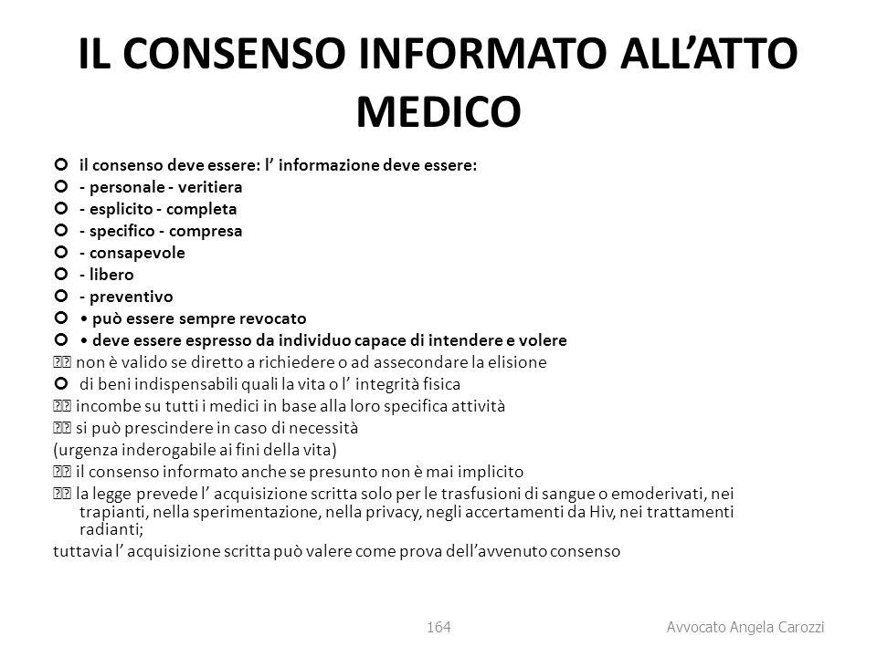 IL CONSENSO INFORMATO ALL'ATTO MEDICO