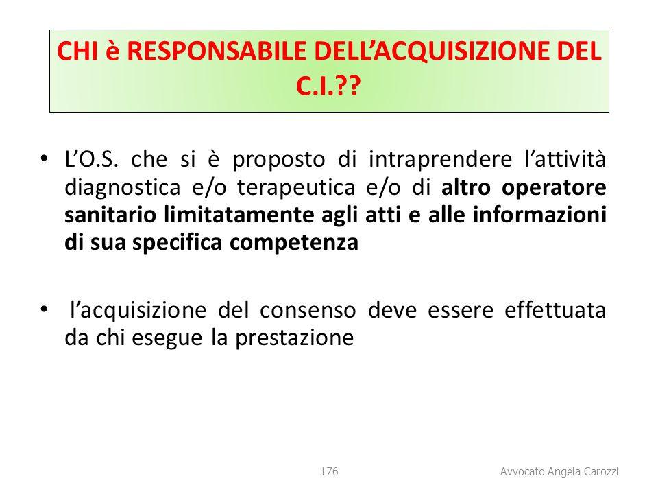 CHI è RESPONSABILE DELL'ACQUISIZIONE DEL C.I.