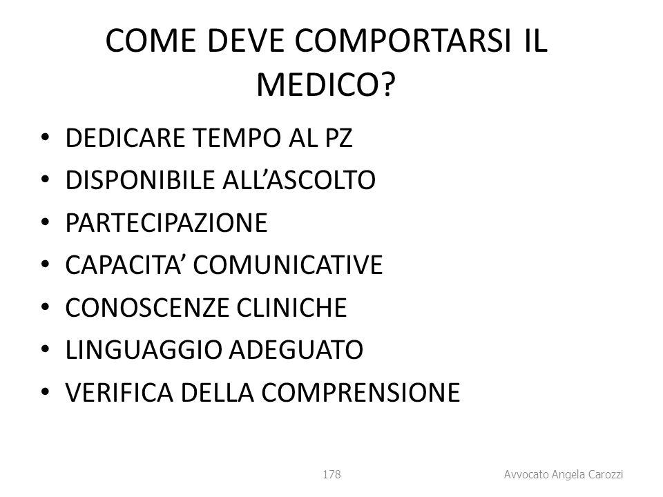 COME DEVE COMPORTARSI IL MEDICO