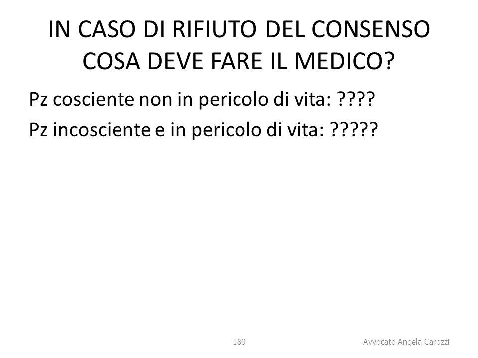 IN CASO DI RIFIUTO DEL CONSENSO COSA DEVE FARE IL MEDICO