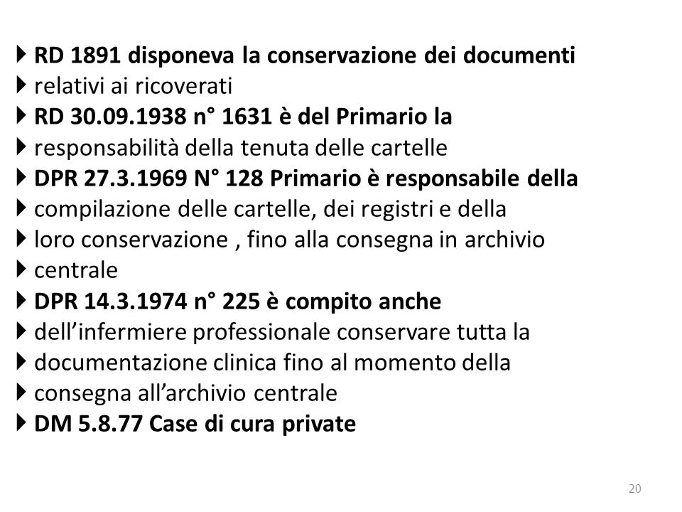 RD 1891 disponeva la conservazione dei documenti