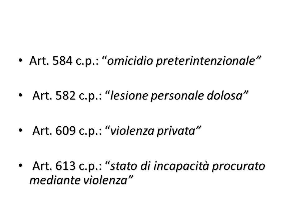 Art. 584 c.p.: omicidio preterintenzionale
