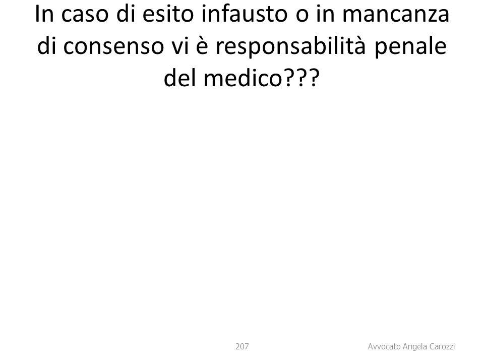 In caso di esito infausto o in mancanza di consenso vi è responsabilità penale del medico
