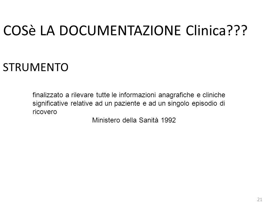 COSè LA DOCUMENTAZIONE Clinica