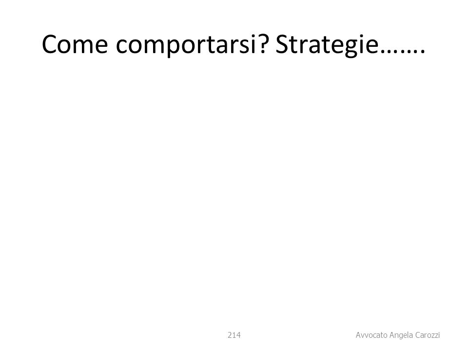Come comportarsi Strategie…….