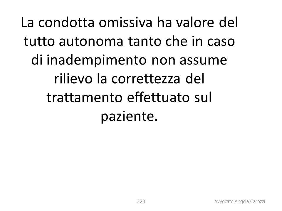 La condotta omissiva ha valore del tutto autonoma tanto che in caso di inadempimento non assume rilievo la correttezza del trattamento effettuato sul paziente.